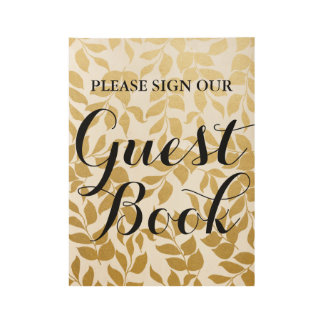 Guest Book Wedding Sign Faux Gold Foil Leaves Wood Poster