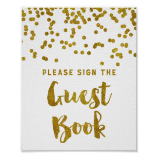 Guest Book Wedding Sign Gold Confetti