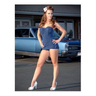 Guilty Pontiac GTO Vintage Swimsuit Pin Up Girl Postcard