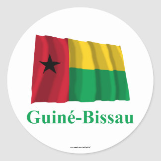 Guinea-Bissau Waving Flag with Name in Portuguese Classic Round Sticker