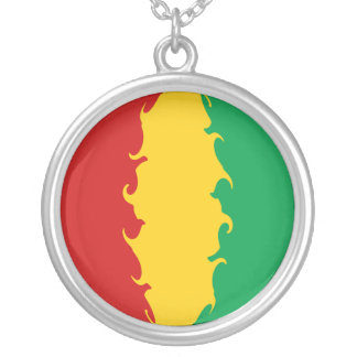 Guinea Conakry Gnarly Flag Round Pendant Necklace