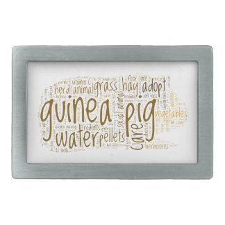 Guinea Pig Care Reminder Word Cloud Rectangular Belt Buckles