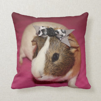 Guinea Pig With Bow 2 Throw Pillow