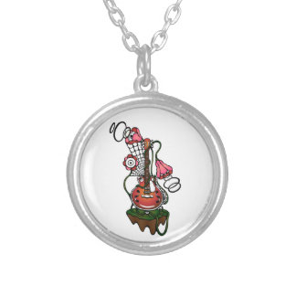 guitar and flowers silver plated necklace