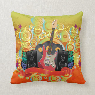 guitar and speakers with funky background throw pillow