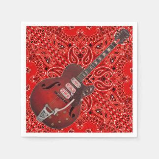 Guitar Bandana Country Music BBQ Picnic Paisley Paper Napkins
