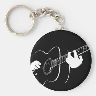 guitar basic round button key ring