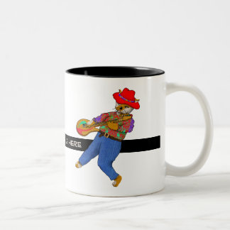Guitar Cat Rocks Two-Tone Coffee Mug