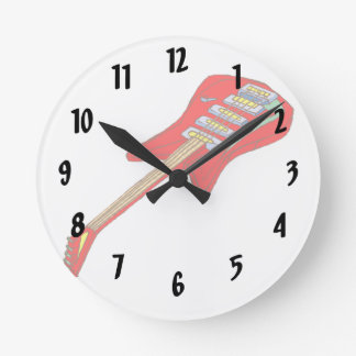 guitar electric multi colored red.png round clock