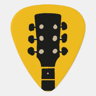 guitar-neck on yellow rock plectrum