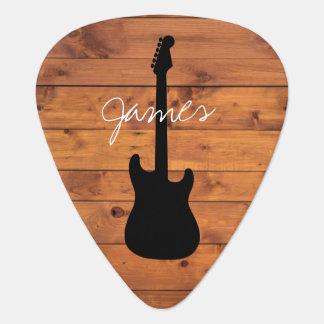 Guitar Rustic Wood Handwritten Name Plectrum