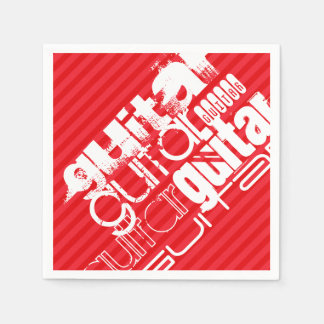 Guitar; Scarlet Red Stripes Paper Serviettes