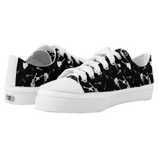 Guitars Rock Black White Low Top Shoes 3 Printed Shoes