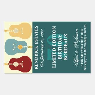 Guitars Wine Label - Teal (750ml) Rectangular Sticker