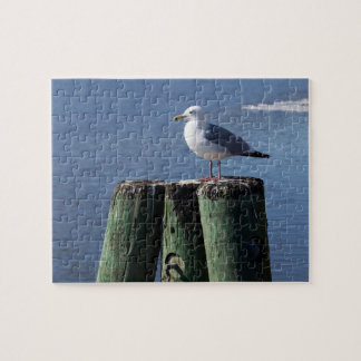 Gull on Pilings Jigsaw Puzzle