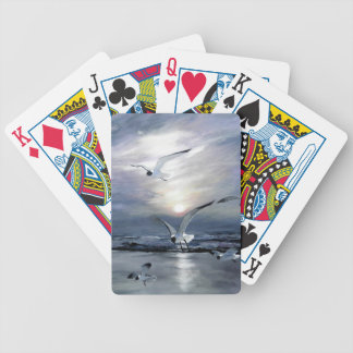 Gulls landing bicycle playing cards
