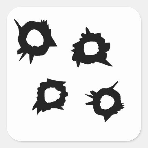 Gun Shot Square Sticker