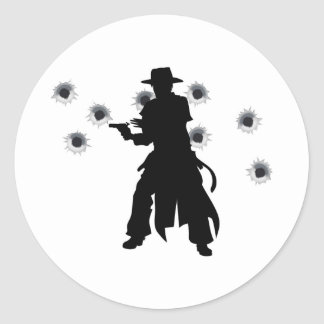 Gun slinger western shoot-out round stickers
