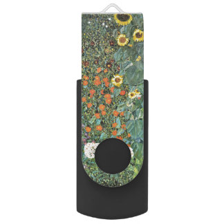 Gustav Klimt Farm Garden with Sunflowers GalleryHD Swivel USB 2.0 Flash Drive