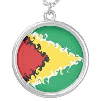 Guyana Gnarly Flag Round Pendant Necklace