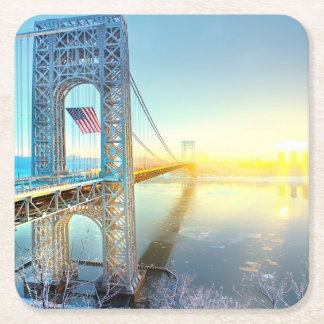 GWB connecting Fort Lee NJ and Manhattan NYPlus Square Paper Coaster