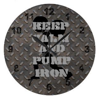 GYM HOME GYM Keep Calm and Pump iron Fitness Clocks