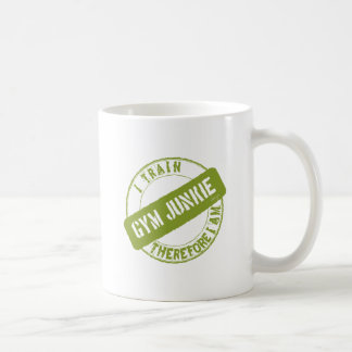 GYM JUNKIE. I TRAIN THEREFORE I AM. light green Coffee Mug