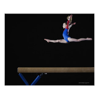Gymnast (9-10) leaping on balance beam 2 poster