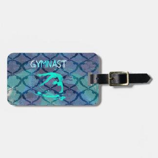 Gymnast Tribal Pattern Blue Luggage Tag