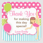 Gymnastic Birthday Favour Tag Square Stickers