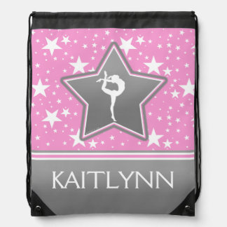 Gymnastics Among the Stars in Pink with YOUR NAME Drawstring Bag