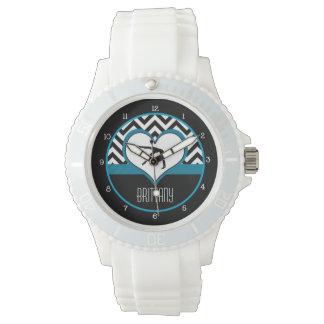 Gymnastics Chevron Heart with Monogram in Black Watch