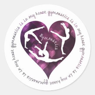 Gymnastics Is In My Heart Round Stickers