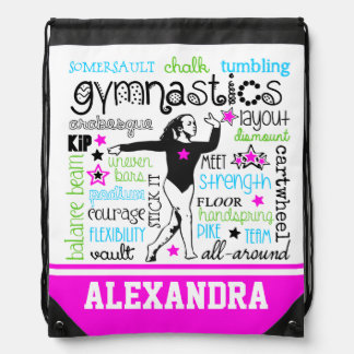 Gymnastics Typography with Monogram Drawstring Bag