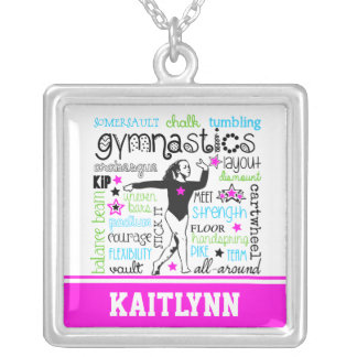 Gymnastics Typography with Monogram Silver Plated Necklace