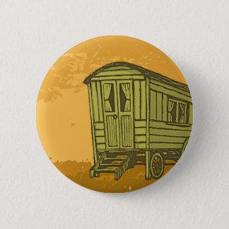 Gypsy caravan wagon 6 cm round badge