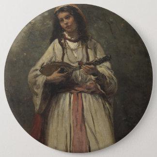 Gypsy Girl with Mandolin 6 Cm Round Badge