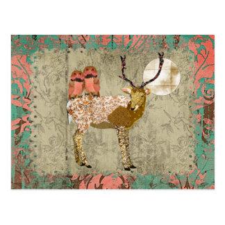 Gypsy Golden Pink Owls & Ornate Buck  Moonlight Postcard