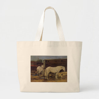 Gypsy Horses by Eugene Boudin Large Tote Bag