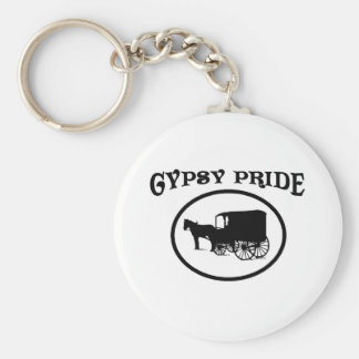 Gypsy Pride Black & White Caravan Basic Round Button Key Ring