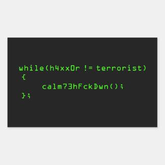 h4xx0r != terrorist rectangular sticker