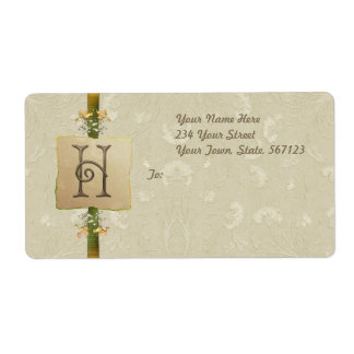 H - Ivory Elegance Monogram Shipping Label