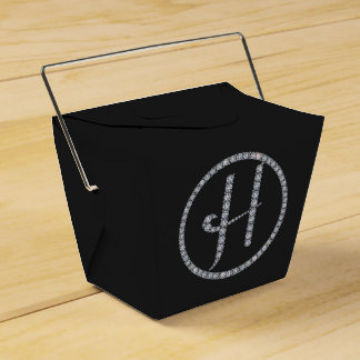 H monogram bling favor box