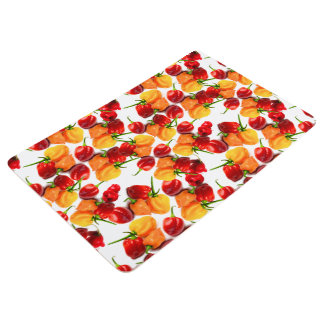 Habanero Chilies Red Peppers Orange Hot Food Floor Mat