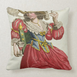 Habit of a wealthy lady about 1630 (coloured engra throw pillows
