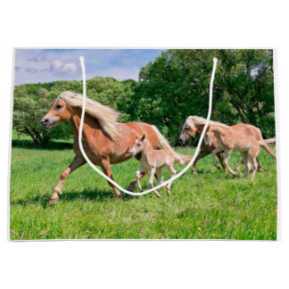 Haflinger Horses with Cute Foals Run Funny Photo . Large Gift Bag