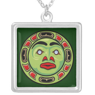 Haida Native American Indian Moon Mask Silver Plated Necklace