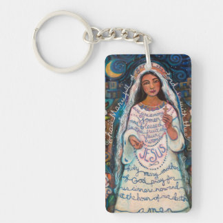 Hail Mary Catholic Prayer Keychain