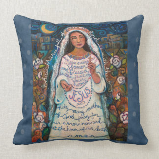 Hail Mary Prayer Pillow with Blue Polka Dots