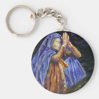 Hail Mary Rosary painting Art Basic Round Button Key Ring